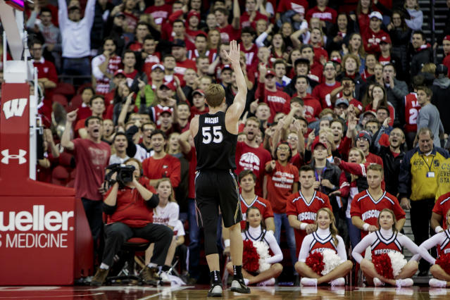 J.P. Macura taunts Wisconsin fans late in his team's victory at the Kohl Center earlier this season. (Getty)