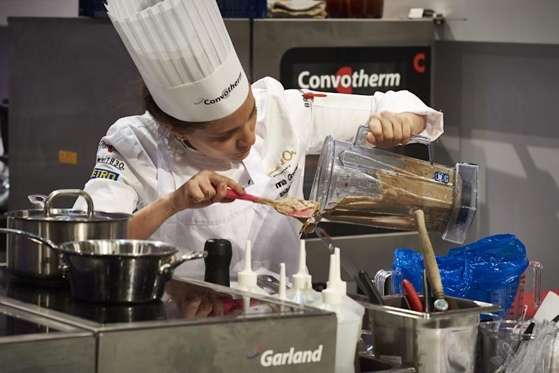 Brazil's Giovanna Grossi competes in the final event of the Bocuse d'Or International culinary competition during SIRHA, an international hospitality and food trade show, in Chassieu on January 25, 2017. / AFP / JEAN-PHILIPPE KSIAZEK (Photo credit should read JEAN-PHILIPPE KSIAZEK/AFP/Getty Images)