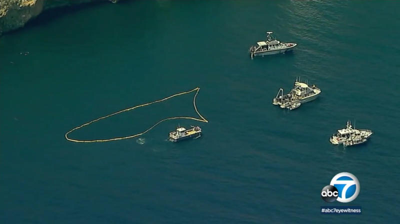 This image made from video provided by KABC-TV shows the outlined search area where divers are searching the wreckage of the sunken dive boat Conception, Tuesday, Sept. 3, 2019, after it burned and sank Sunday, off Santa Cruz Island in Southern California's Channel Islands. (Photo: KABC-TV via AP)
