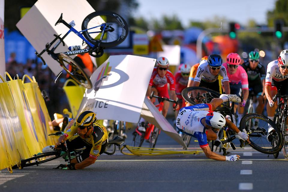 KATOWICE, POLAND - AUGUST 05: Sprint / Arrival / Dylan Groenewegen of The Netherlands and Team Jumbo - Visma / Fabio Jakobsen of The Netherlands and Team Deceuninck - Quick-Step / Marc Sarreau of France and Team Groupama - FDJ / Luka Mezgec of Slovenia and Team Mitchelton - Scott / Ryan Gibbons of South Africa and NTT Pro Cycling Team / Moreno Hofland of The Netherlands and Team EF Education First / Jasper Philipsen of Belgium and UAE Team Emirates / Szymon Sajnok of Poland and CCC Team / during the 77th Tour of Poland 2020, Stage 1 a 195,8km stage from Silesian Stadium-Chorzów to Spodek-Katowice / @Tour_de_Pologne / #tdp20 / on August 05, 2020 in Katowice, Poland. (Photo by Luc Claessen/Getty Images)