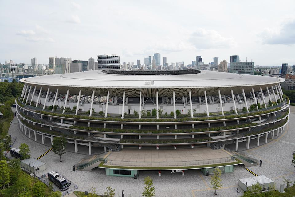 The National Stadium, the main venue for the Tokyo 2020 Olympic and Paralympic Games, is seen on the day marking 50 days to go for the Tokyo Olympic Games on June 3, 2021 in Tokyo, Japan. (Photo by Jinhee Lee/NurPhoto via Getty Images)