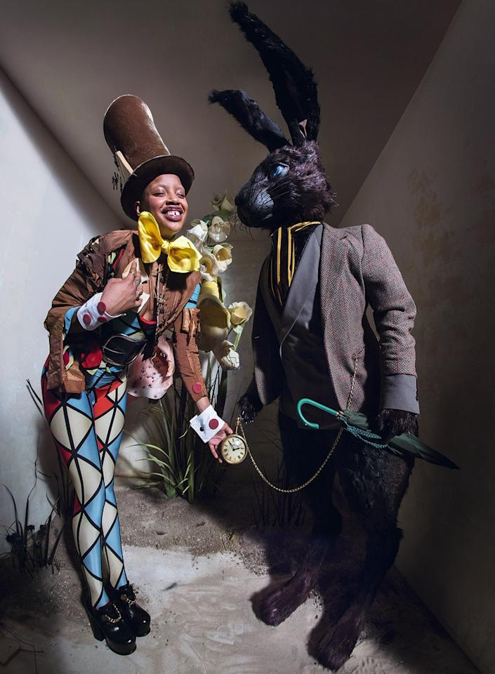 <p>Model Slick Woods plays the Mad Hatter in the Tim Walker shoot. </p>