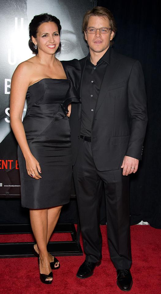 """<a href=""""http://movies.yahoo.com/movie/contributor/1800020155"""">Matt Damon</a> and wife Luciana at the New York City premiere of <a href=""""http://movies.yahoo.com/movie/1810119644/info"""">The Adjustment Bureau</a> on February 14, 2011."""
