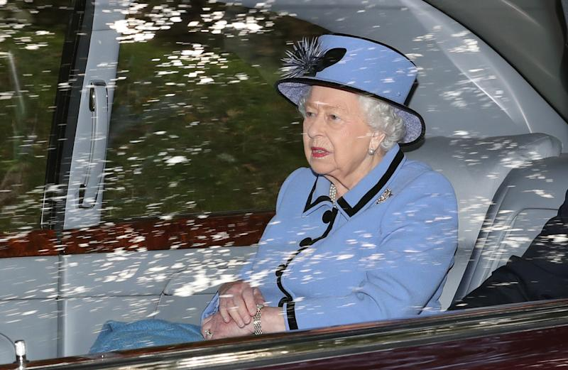 The Queen leaves Crathie Kirk after attending a Sunday morning service near Balmoral. (Photo by Andrew Milligan/PA Images via Getty Images)