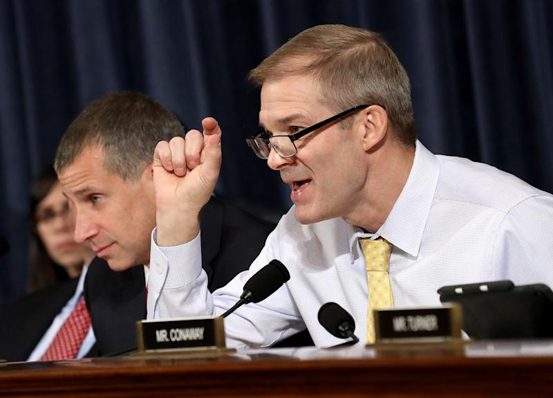 Rep. Jim Jordan, R-Ohio, questions Bill Taylor and George Kent, who testified Wednesday before the House Intelligence Committee. (Photo: Drew Angerer/Getty Images)