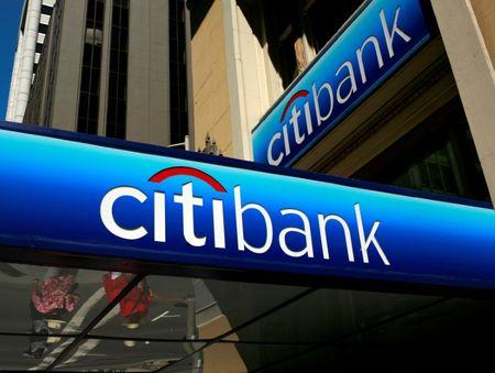 FILE PHOTO -  Citibank branch logo in the financial district of San Francisco