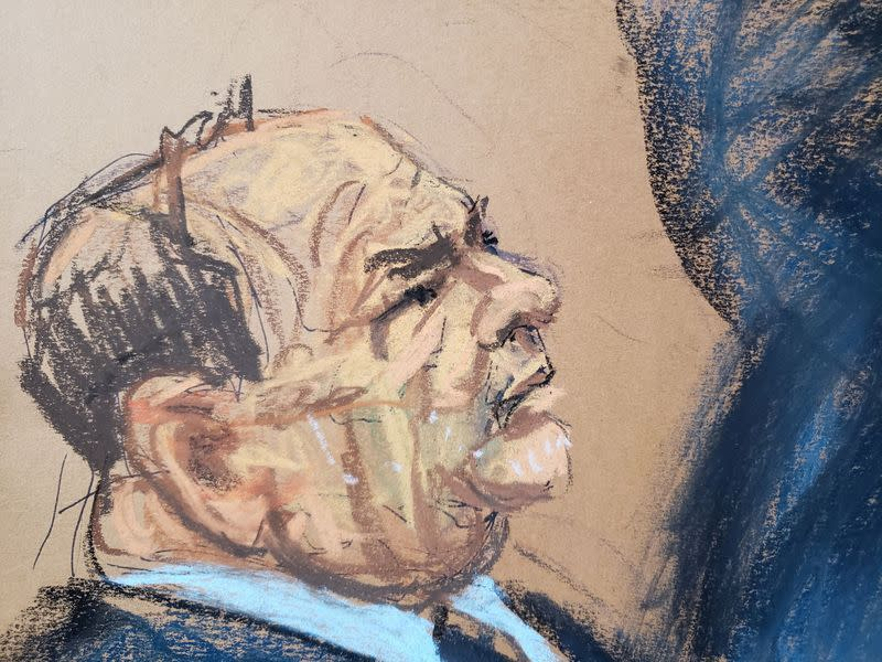 Film producer Harvey Weinstein watches as witness Dawn Dunning is cross-examined by defense lawyer Arthur Aidala during Weinstein's sexual assault trial
