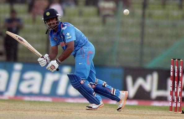 Indian batsman Ambati Rayudu plays a shot during the fourth match of the Asia Cup one-day cricket tournament between Indian and Sri Lanka at the Khan Shaheb Osman Ali Stadium in Fatullah, on the outskirts of Dhaka on February 28, 2014. AFP PHOTO/Dibyangshu SARKAR (Photo credit should read DIBYANGSHU SARKAR/AFP/Getty Images)