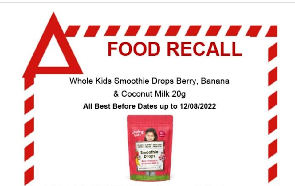 An urgent recall has been issued for Whole Kids Smoothie Drops Berry, Banana and Coconut Milk 20g. Source: Food Standards Australia