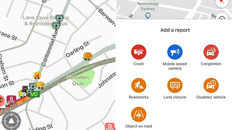 Through apps like Waze (left), motorists can see upcoming speed cameras on their phone and Google Maps (right) now allows for people to add the location of a mobile speed camera. Source: Waze/Google Maps.