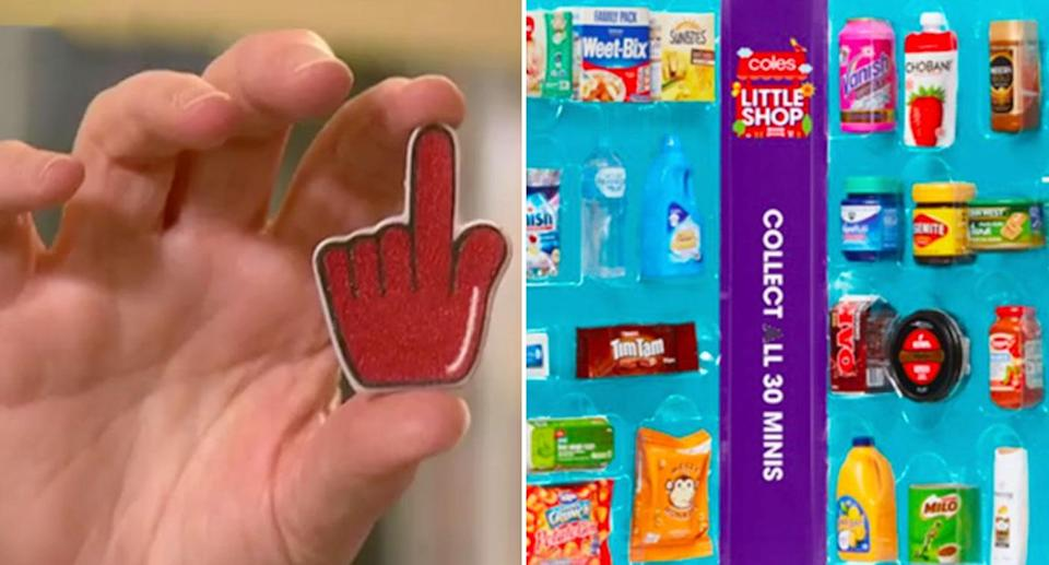 The hotspots to collect the Coles Little Shop red hand collectables has been revealed. Source: 7 News/ Coles