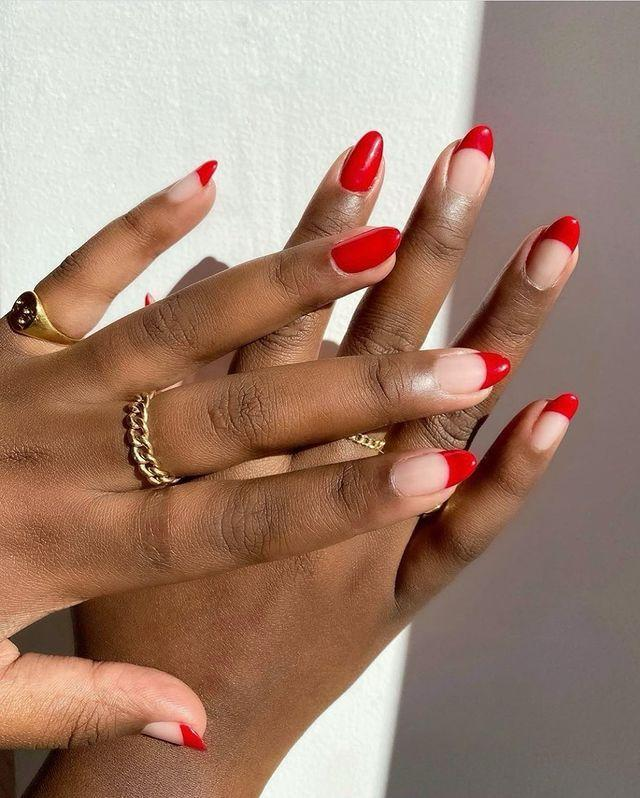 """<p>You don't need to spend hours on intricate designs to make a major nail statement. We love this modern and romantic take on a French manicure.</p><p><a href=""""https://www.instagram.com/p/CJ_lHuIMdpX/?igshid=di8edl2njlp0"""" rel=""""nofollow noopener"""" target=""""_blank"""" data-ylk=""""slk:See the original post on Instagram"""" class=""""link rapid-noclick-resp"""">See the original post on Instagram</a></p>"""