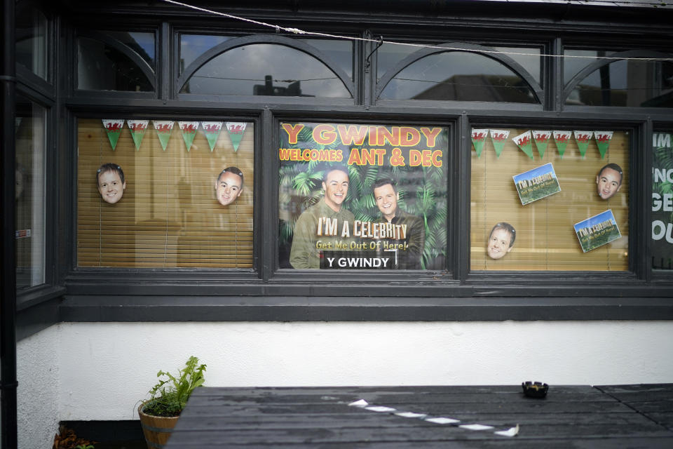 "Shops and businesses in Abergele decorate their windows to welcome the cast of ITV's reality TV show ""I'm A Celebrity Get Me Out Of Here"" which will be filmed at nearby Gwyrch Castle on November 03, 2020 in Abergele, Wales. (Photo by Christopher Furlong/Getty Images)"