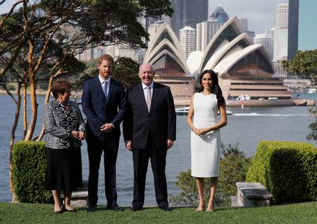 Britain's Prince Harry and wife Meghan, Duchess of Sussex pose with Australia's Governor General Peter Cosgrove and his wife Lynne Cosgrove at Admiralty House during their visit in Sydney, Australia October 16, 2018. REUTERS/Phil Noble/Pool