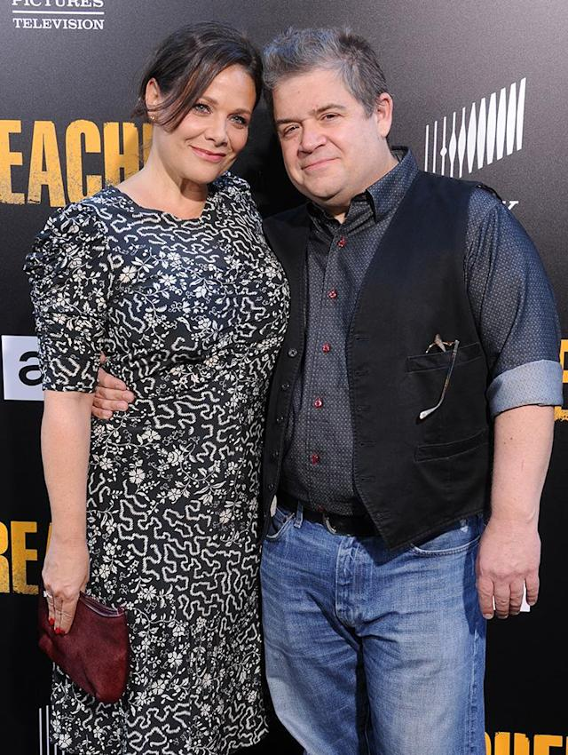 """<p>The comedic actor found love again this year, <a href=""""https://www.yahoo.com/lifestyle/patton-oswalt-marries-meredith-salenger-174443101.html"""" data-ylk=""""slk:marrying Salenger;outcm:mb_qualified_link;_E:mb_qualified_link"""" class=""""link rapid-noclick-resp"""">marrying Salenger</a> just 15 months after the unexpected death of his first wife, Michelle McNamara. Oswalt got backlash surrounding his quick engagement, but he didn't let it deter him from walking down the aisle. (Photo: Gregg DeGuire/WireImage) </p>"""