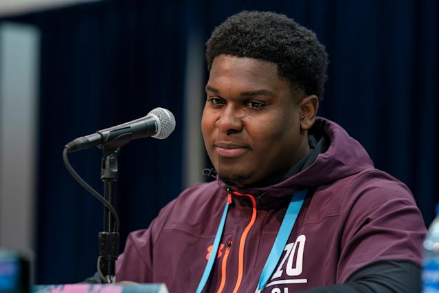 South Carolina OT Dennis Daley talks at the 2019 NFL scouting combine (Getty Images)