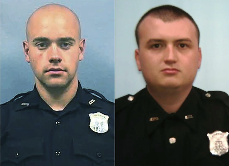 Officer Garrett Rolfe (left) who is accused of fatally shooting Rayshard Brooks, and Officer Devin Brosnan (right) who allegedly stood on Brooks' shoulder as he struggled for life. Source: AP