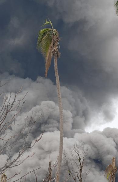 Thick layers of ash cover and burn the vegetation around the Tavurvur volcano in Papua New Guinea.