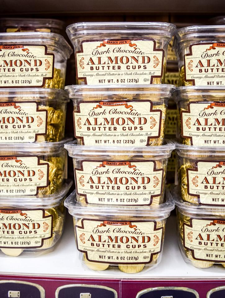 <p>Oh, yes. Almond butter fans just got extra lucky with this new addition to the sweet shelf. It's dark chocolate and almond butter perfection. Good luck staying stocked, Trader Joe's.</p>