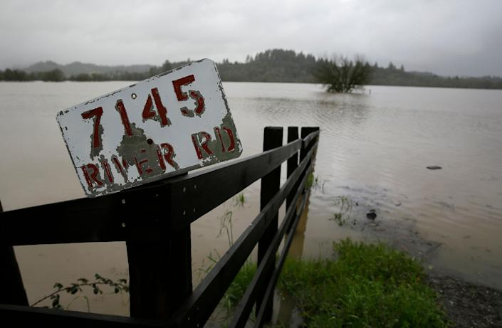A vineyard along River Road is completely flooded, Feb. 27, 2019, near Forestville, Calif. (Photo: Eric Risberg/AP)