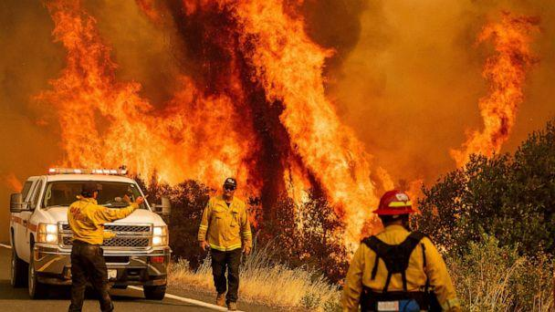 PHOTO: Flames from the LNU Lightning Complex fires leap above Butts Canyon Road on Sunday, Aug. 23, 2020, as firefighters work to contain the blaze in unincorporated Lake County, Calif. (Noah Berger/AP)