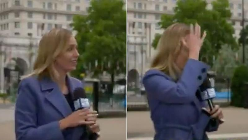 Channel Nine reporter Sophie Walsh was grabbed by a stranger during a live TV cross from London protests. (Photo: Channel Nine)