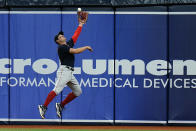 Boston Red Sox right fielder Hunter Renfroe makes a leaping catch on a fly ball by Tampa Bay Rays' Ji-Man Choi during the fifth inning of a baseball game Thursday, June 24, 2021, in St. Petersburg, Fla. (AP Photo/Chris O'Meara)
