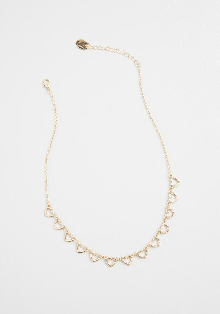 <p>Show your love with this <span>Modcloth Get In Line Heart Necklace</span> ($22).</p>