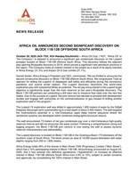 Africa Oil Announces Second Significant Discovery on Block 11B/12B Offshore South Africa (CNW Group/Africa Oil Corp.)