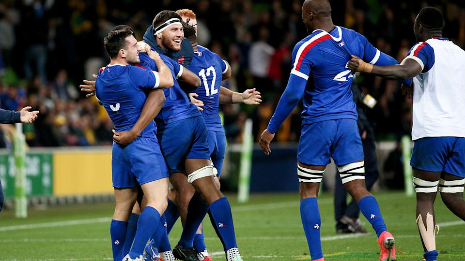 France players, pictured here celebrating after beating the Wallabies in the second Test.
