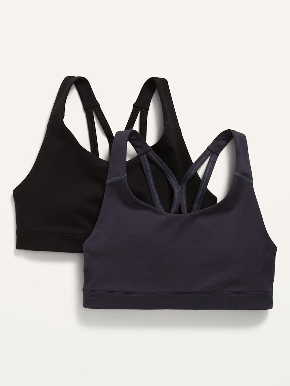 <p>You can't go wrong with these <span>Medim Support Strappy Sports Bra 2-Pack</span> ($25, originally $40). They'll take you from the weightroom to running errands at Costco.</p>