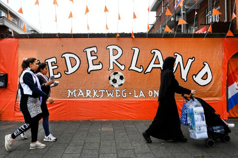 A neighbourhood is decorated in orange for Euro 2020 in The Hague