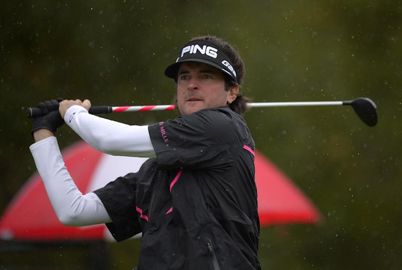 Bubba Watson tees off on the first hole during the third round of the Northwestern Mutual World Challenge golf tournament at Sherwood Country Club, Saturday, Dec. 7, 2013, in Thousand Oaks, Calif. (AP Photo/Mark J. Terrill)