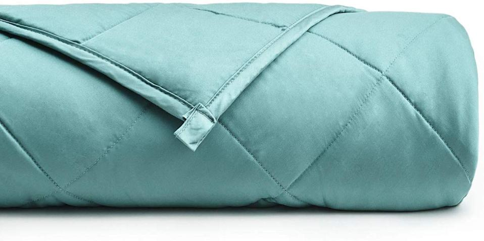 YnM Cooling Weighted Blanket with 100% Bamboo Viscose in Sea Glass