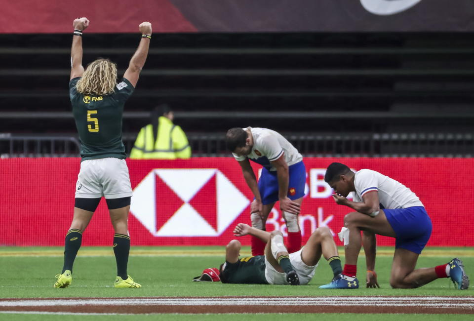 South Africa's Werner Kok (5) celebrates after his team defeats France to win the championship at the World Rugby Sevens Series action in Vancouver, British Columbia, on Sunday March 10, 2019. (Ben Nelms/The Canadian Press via AP)