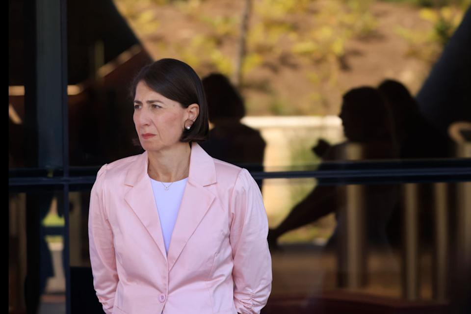 NSW Premier Gladys Berejiklian looks on during a COVID-19 update press conference.