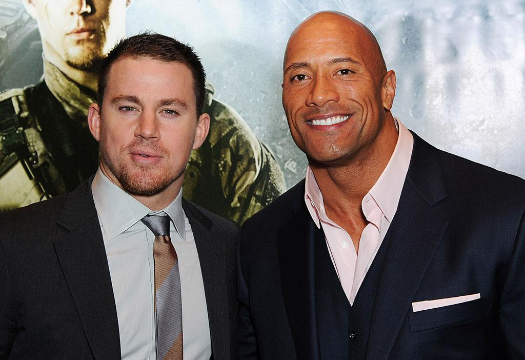 Channing Tatum and Dwayne Johnson attend the UK premiere of 'G.I. Joe: Retaliation' at The Empire Leicester Square on March 18, 2013 in London, England.