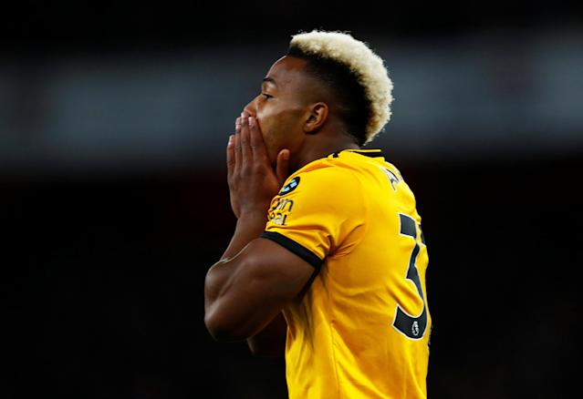 """Soccer Football - Premier League - Arsenal v Wolverhampton Wanderers - Emirates Stadium, London, Britain - November 11, 2018 Wolverhampton Wanderers' Adama Traore reacts after a missed chance REUTERS/Eddie Keogh EDITORIAL USE ONLY. No use with unauthorized audio, video, data, fixture lists, club/league logos or """"live"""" services. Online in-match use limited to 75 images, no video emulation. No use in betting, games or single club/league/player publications. Please contact your account representative for further details."""