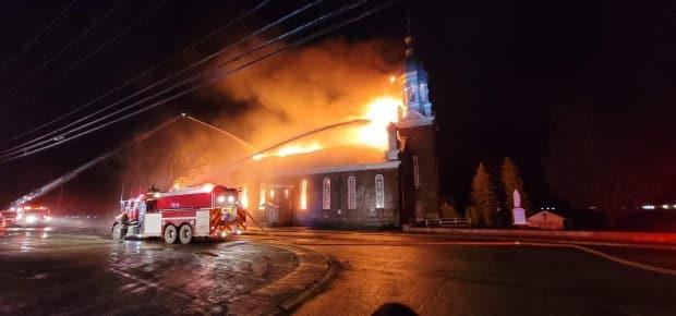 The Listuguj church was used for Sunday morning church services, funerals, baptisms and weddings. (Const. Jesse Doiron/ Listuguj Police Department - image credit)