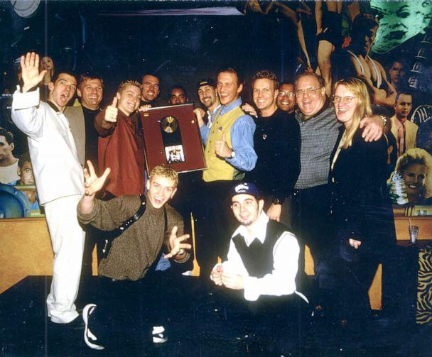 PHOTO: NSYNC pictured with Lou Pearlman at their gold album presentation. (Lance Bass)
