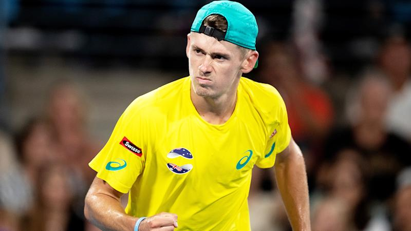 Alex De Minaur, pictured here in action for Australia in the ATP Cup.