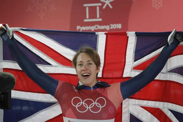 Skeleton - Pyeongchang 2018 Winter Olympics – Women's Finals - Olympic Sliding Center - Pyeongchang, South Korea – February 17, 2018 - Lizzy Yarnold of Britain celebrates. REUTERS/Arnd Wiegmann
