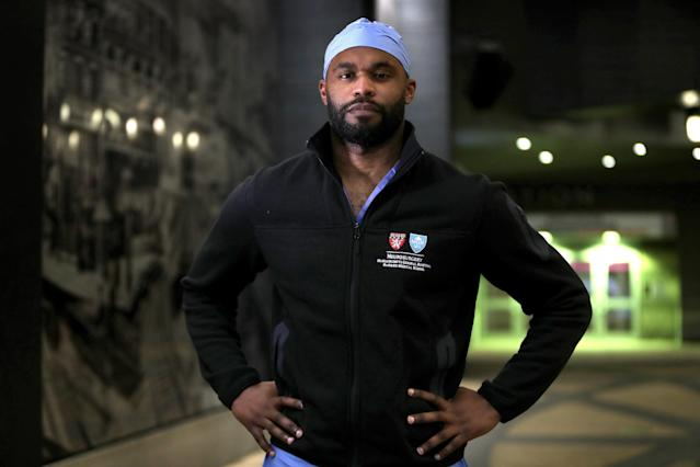 """Former Florida State and <a class=""""link rapid-noclick-resp"""" href=""""/nfl/teams/tennessee/"""" data-ylk=""""slk:Tennessee Titans"""">Tennessee Titans</a> defensive back Myron Rolle, pictured in Boston on April 3, is currently a third-year neurosurgery resident at Massachusetts General Hospital in Boston. (Photo by Barry Chin/The Boston Globe via Getty Images)"""