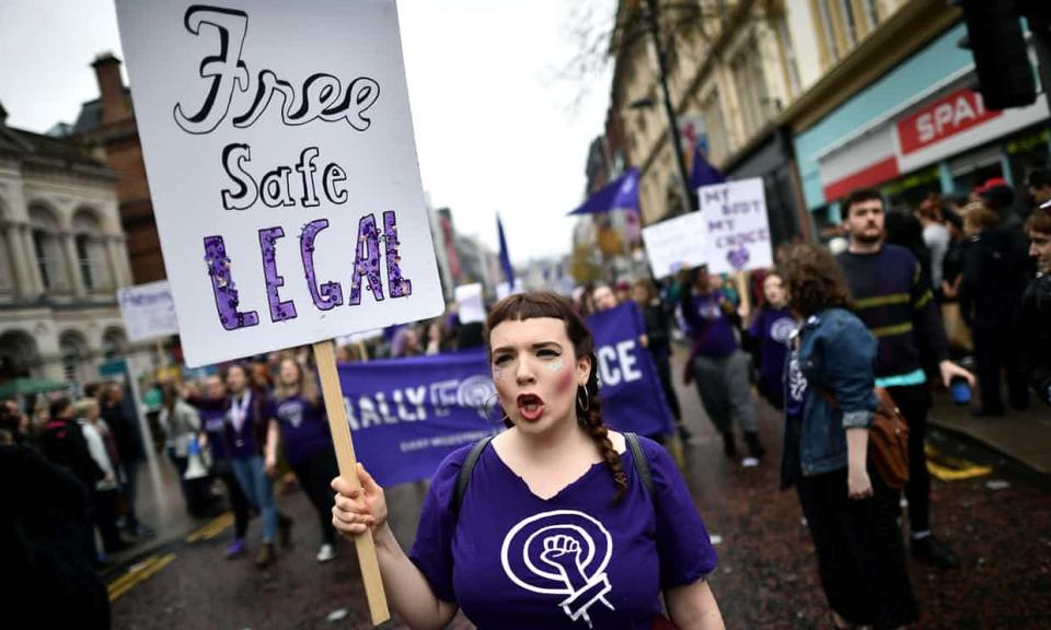 A pro-choice rally in Belfast earlier this year [Photo: Getty]