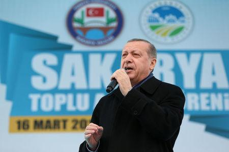 Turkish President Erdogan speaks during a ceremony in Sakarya