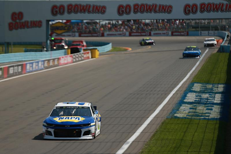 WATKINS GLEN, NEW YORK - AUGUST 04: Chase Elliott, driver of the #9 NAPA AUTO PARTS Chevrolet, leads a pack of cars during the Monster Energy NASCAR Cup Series Go Bowling at The Glen at Watkins Glen International on August 04, 2019 in Watkins Glen, New York. (Photo by Sean Gardner/Getty Images)
