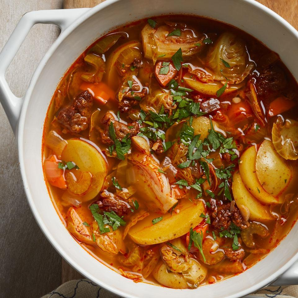 <p>Bake up some Manchego cheese toasts and uncork a bottle of Ribera del Duero to enjoy alongside this healthy pot of soup. Both sweet and hot Italian sausage work well.</p>