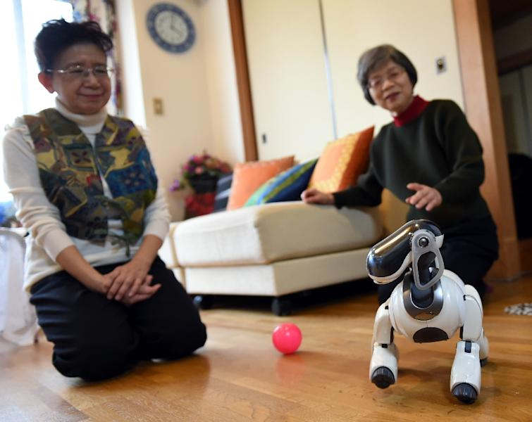 Hideko Mori (L) and her sister Yasuko watch their robot pet AIBO playing at Hideko's home in Tokyo (AFP Photo/Toshifumi Kitamura)