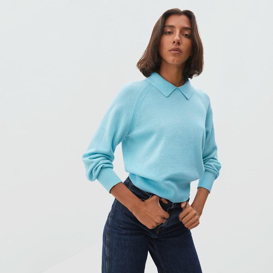 """Basic yet far from boring, this endlessly versatile sweater is Everlane at its best. $130, Everlane. <a href=""""https://www.everlane.com/products/womens-cashmere-collared-polo-blue"""" rel=""""nofollow noopener"""" target=""""_blank"""" data-ylk=""""slk:Get it now!"""" class=""""link rapid-noclick-resp"""">Get it now!</a>"""