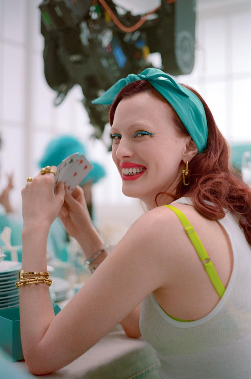 Karen Elson, behind the scenes of Tiffany & Co.'s new holidays campaign.